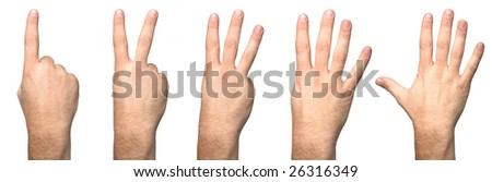 Male counting Hands from one to five isolated over white background