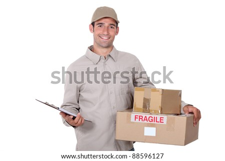 Male courier with parcels and a clipboard