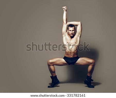 Male dancer, modern choreography - stock photo