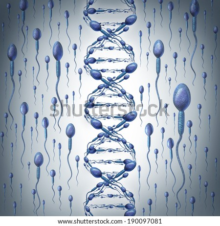 Male DNA symbol as human sperm cells shaped as a double helix as a fertility in men concept with spermatozoa swimming as a medical reproduction icon of genetic information transfer. - stock photo