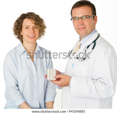 Male doctor and patient in hospital - portrait - stock photo