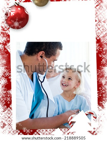 Male doctor checking the pulse on a smiling little patient against christmas themed frame - stock photo