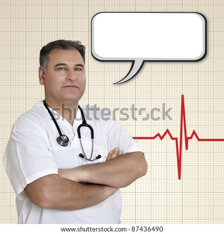 Male Doctor give advise with empty speech bubble - stock photo
