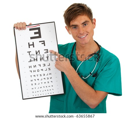 male doctor in green uniform keeping optometry chart - stock photo