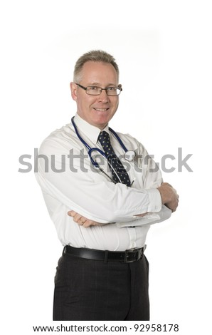 Male doctor isolated on white smiles with arms crossed - stock photo