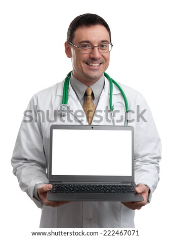 male doctor smiling and holding laptop computer with blank screen to add your message, isolated on white background