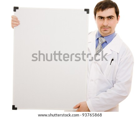 Male doctor with a white board on a white background. - stock photo