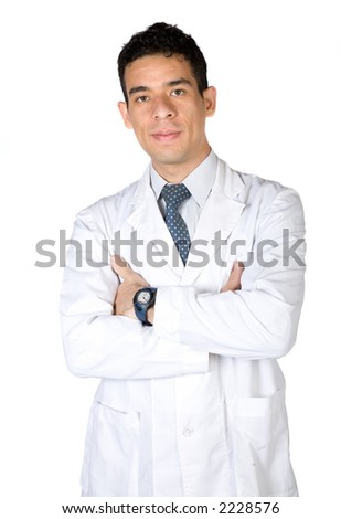 male doctor with arms crossed over a white background - stock photo