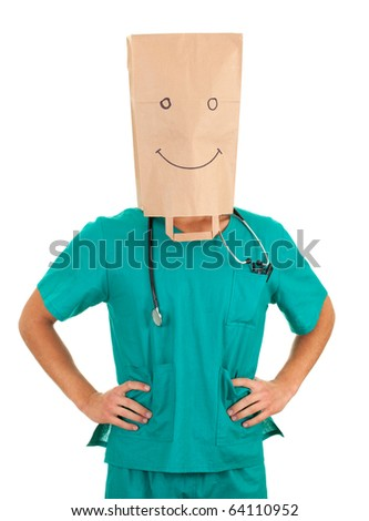 male doctor with paper bag on his head