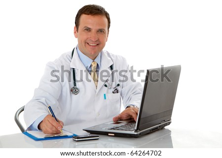 Male doctor write medical reports - stock photo
