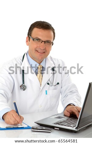 Male doctor write medical reports