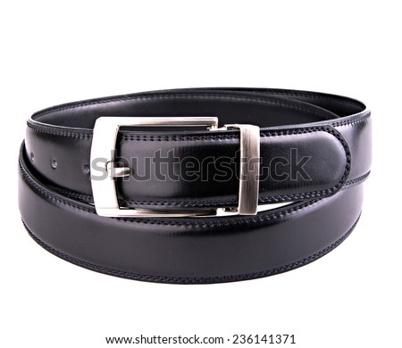 Male elegant black leather belt isolated on the white