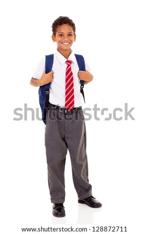 male elementary school student with backpack isolated on white