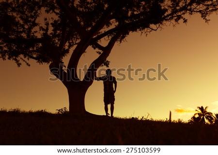 Male enjoying the beautiful view. - stock photo