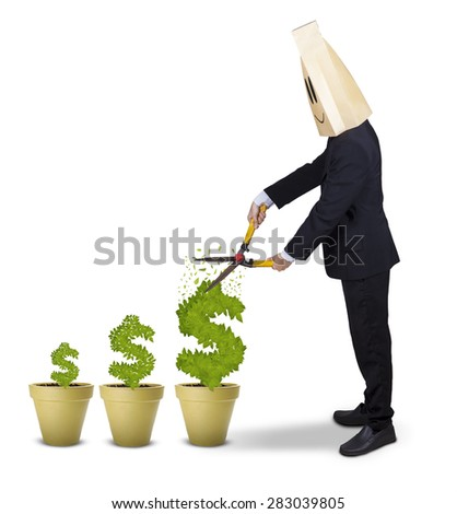 Male entrepreneur with cardboard head, using a scissors to cut money tree, isolated on white - stock photo