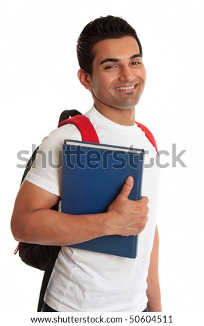 Male ethnic mixed race college or university student, smiling. - stock photo