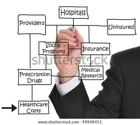 Male executive drawing a health care diagram on whiteboard - stock photo