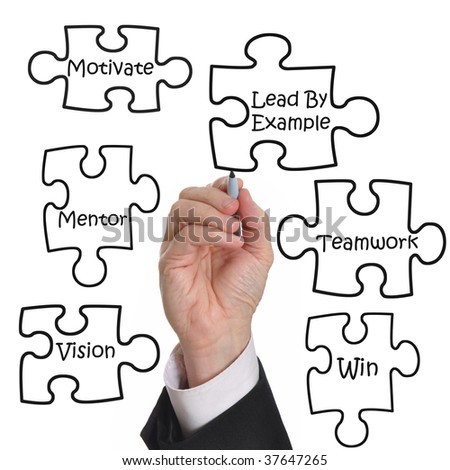 Male executive drawing a puzzle of a business motivation concept - stock photo