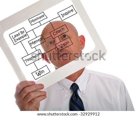 Male executive holding business success chart - stock photo