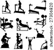 Male Exercise Bitmap Silhouettes - stock vector