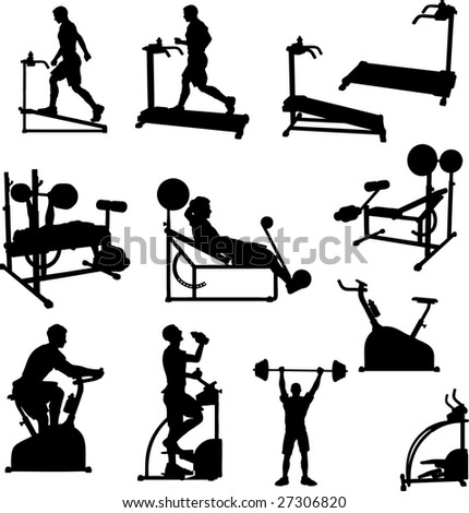 Male Exercise Bitmap Silhouettes - stock photo