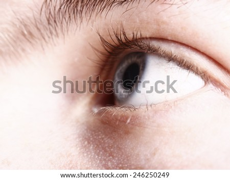 Male eyes looking to the front. - stock photo