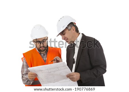 Male factory worker and supervisor are analyzing plans on white background  - stock photo