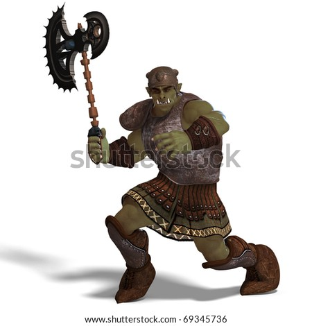 Male Fantasy Orc Barbarian with Giant Axe. 3D rendering with clipping path and shadow over white - stock photo