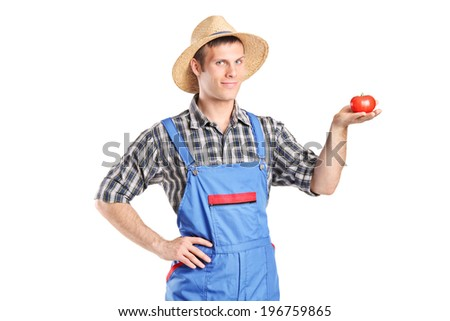 Male farmer holding a tomato isolated on white background - stock photo