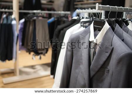 Male fashion store interior - stock photo