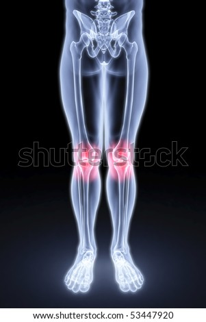 male feet under the X-rays. knee joints are highlighted in red.