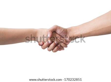 Male Female hands handshake isolated on white background.