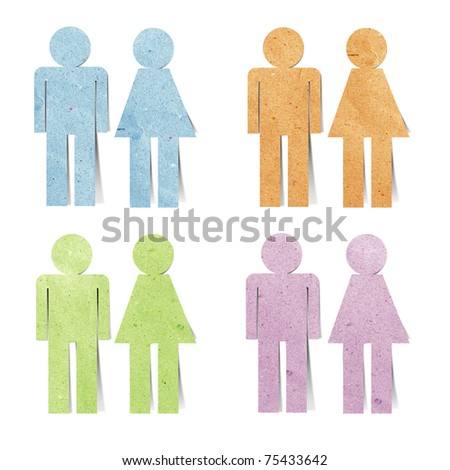 male & female recycled paper stick on white background - stock photo