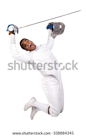Male fencer isolated in white - stock photo