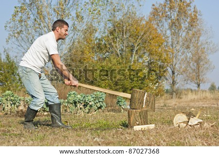 Male figure chopping or slitting winter wood against a rural Autumn backdrop - stock photo