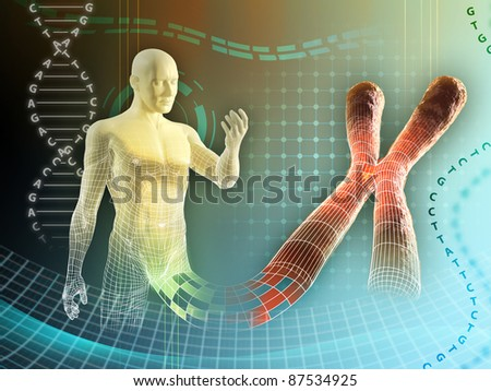 Male figure created by some human chromosome. Digital illustration. - stock photo