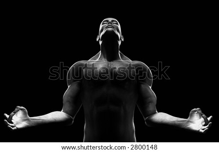 Male figure in zen position. High contrast lighting