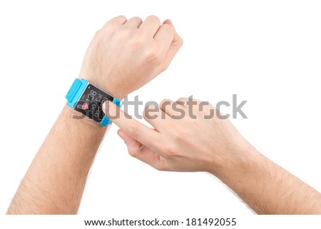 Male finger taps on the screen of the smart watch with fitness app - stock photo