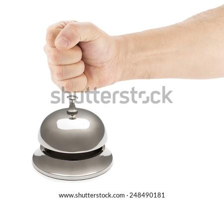 Male Fist Hitting Service Bell - stock photo