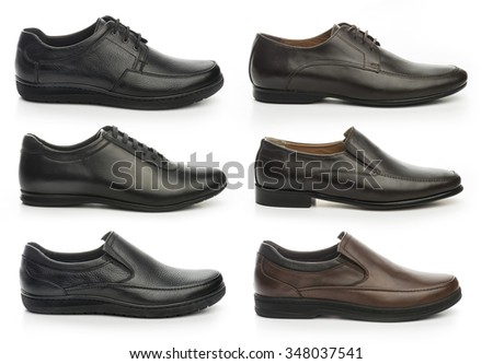 Male footwear collection on white background  - stock photo