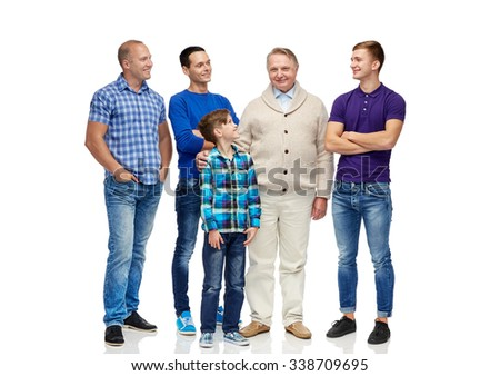 male, gender, generation and people concept - group of smiling men and boy - stock photo