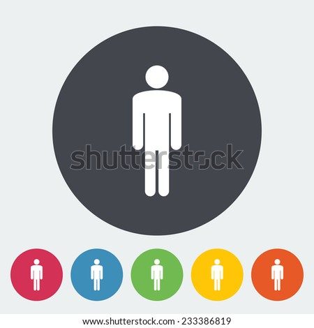 Male gender sign. Single flat icon on the circle.  illustration. - stock photo