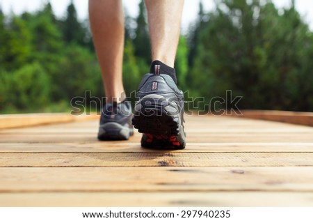 Male going for a walk. - stock photo