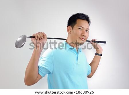 Male golfer - stock photo