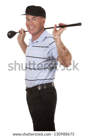 male golfer on white isolated background - stock photo