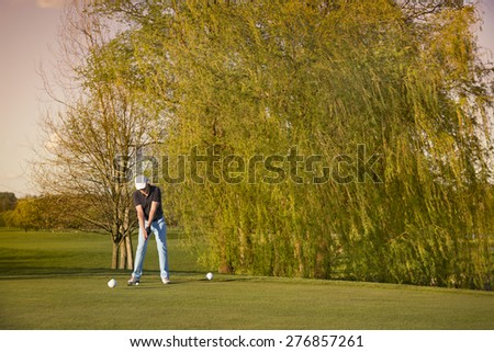 Male golfer preparing to tee-off ball, with beautiful tree in background. - stock photo