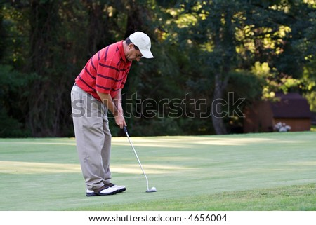 Male golfer putting the golf ball on the green. - stock photo