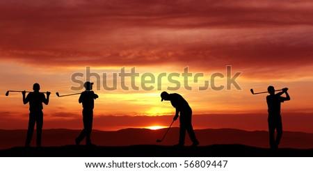 Male golfers at sunset - stock photo