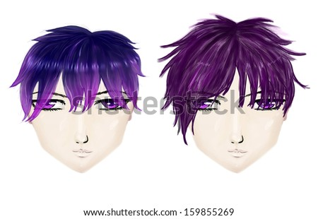 Male gothic haircuts in anime, manga style on white background. - stock photo