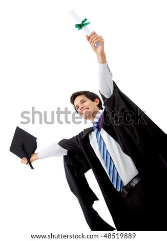 male graduate full of success with his arms up isolated over a white background - stock photo